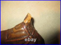 Ancienne canne tête de cheval bois sculpté art populaire XIX ème