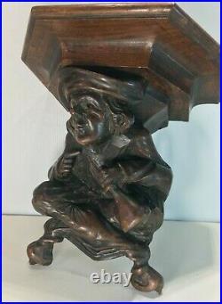 Ancienne console murale en bois sculpté, buveur, sculpteur triboulet