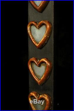 Ancienne croix bois sculpté et verre, reliquaire XVIIIe / Art Populaire ancien