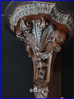 Ancienne étagére angle bois sculpté gothique église Old church wooden shelf XIX