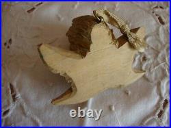 Ancienne garniture de berceau, de landau ange en bois sculpté 19/20è