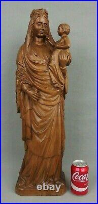 Ancienne grande Vierge Marie bois sculpté 20ème antique large Virgin Mary statue