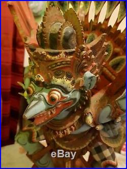 Ancienne grande statue, Garuda, bois sculpté polychrome, divinité, Indonésie