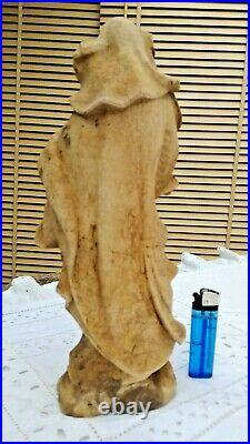 Ancienne jolie sculpture la vierge à l'enfant en bois sculpté 19 ème