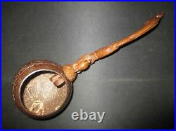 Ancienne louche en noix de coco sculpté manche phénix souvenir asie chine XX ème