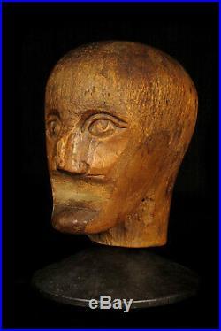 Ancienne marotte, outil de perruquier en bois sculpté c. 1880 / Art Populaire