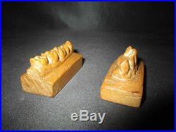 Ancienne matrice de dentiste dents en bois sculpté XIX ème