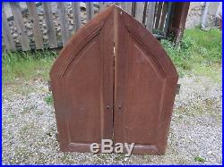 Ancienne paire de porte meuble en bois sculpté chêne gothique église chapelle