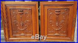 Ancienne paire de vantaux panneaux de porte bois sculpté bas relief