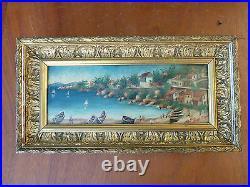 Ancienne peinture sur bois bord de mer avec son cadre en bois doré et sculptés