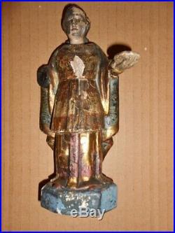 Ancienne petite statue en bois sculpté Saint polychrome old wooden statue