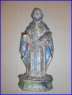 Ancienne petite statue en bois sculpté Saint polychromé old wooden statue