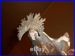 Ancienne petite statue en bois sculpté Vierge Marie polychromé auréole