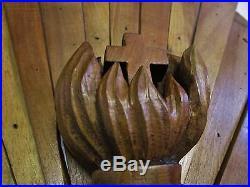 Ancienne rosace-croix-coeur-ostensoir -christ -bois sculpté-église-carved wood