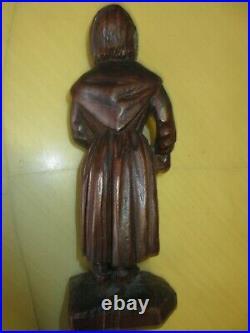 Ancienne sculpture statuette bois sculpté 19e, Femme, Art Populaire