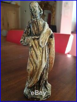 Ancienne statue Saint en bois sculpté doré époque XVIII ème