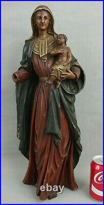 Ancienne statue bois sculpté vierge à l'enfant antique carved virgin mary c1900
