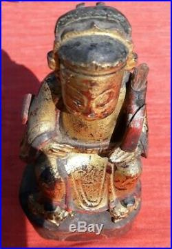Ancienne statue dignitaire chinois en bois sculpté et laqué XIXiem CHINA ANTIQUE