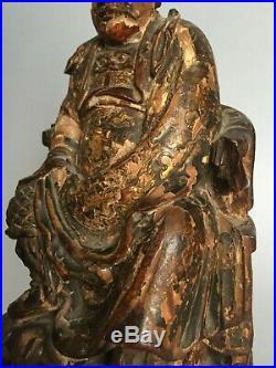 Ancienne statue dignitaire chinois en bois sculpté et laqué XVIII / XIXE