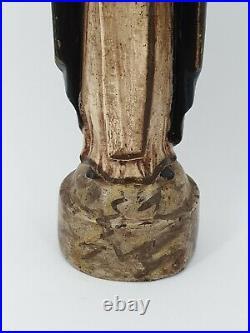 Ancienne statue moine en bois sculpté XIX ème s