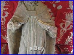Ancienne statue religieuse eveque saint epoque XVII-XVIIIe bois sculpté