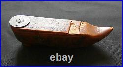 Ancienne tabatière en forme de chaussure soulier bois sculpté 19e art populaire