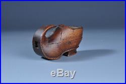Ancienne tabatière sabot bois sculpté XIX Art Populaire Antique Snuff box carved