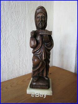 Ancienne très belle statuette sculpture saint Yves bois sculpté et marbre XIXe