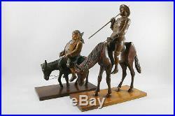 Anciennes Statuettes En Bois Sculpte Don Quichotte Et Sancho Panca Cheval Ne