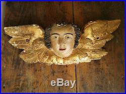 Ange polychrome ancien bois sculpté et doré fin XVII début XVIII 47cm putti