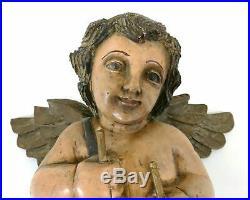 Angelot Ange Main Sculpté Bois 48.3cm Église Mural Statue Ancien Vintage 1800s