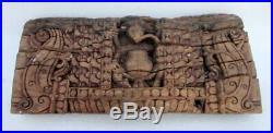 Antique Ancien Rare Main Sculpté Polychrome en Bois Dieu Hindou Ganesha Statue