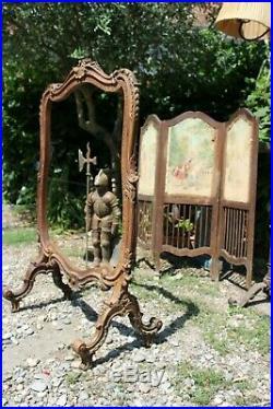 Antique carved fire screen écran de cheminée pare feu ancien bois sculpté