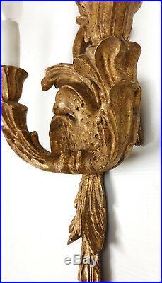 Applique Luminaire Ancienne En Bois Doré Et Sculpté À Décor D'oiseaux De 49 CM H