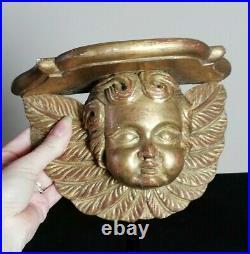 Applique, selette ancienne en bois doré, putti, tête d'ange sculpté, 18ème