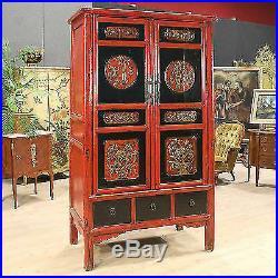Armoire en bois sculpté et laqué chinoise meuble style ancien 900 tiroirs porte