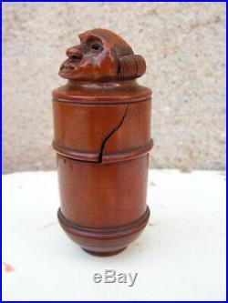 Art Populaire Ancienne Boite Bois Sculpte Tete De Moine