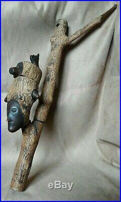 Art Populaire Rare Ancienne Pipe Xixe Sculpte Personnages Animaux Imaginaires