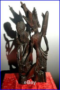 BALI TRES ANCIEN MAGNIFIQUE BOIS SCULPTE RAMA et SITA EBENE DE MACASSAR PRE 1930