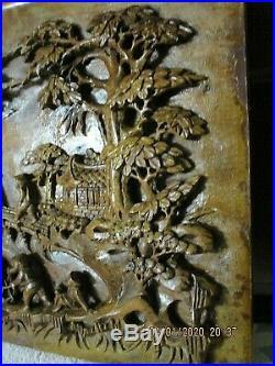 BAS RELIEF PANNEAU en BOIS SCULPTE ANCIEN ASIE CHINE INDOCHINE 50 cm x 29 cm BE