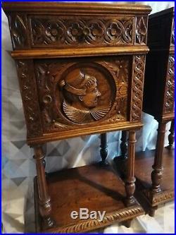 BELLE paire D'Anciennes Tables DE CHEVET BRETONNE en bois sculpté et marbre