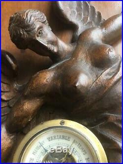 Baromètre Ancien XIX ème Bois Sculpté Femme Ailée Drapée à l'Antique Allégorie