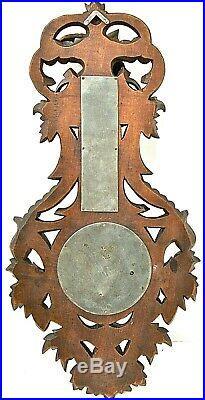 Baromètre thermomètre S. Bloch Strasbourg. Bois sculpté main ancien 19è H 63 cm