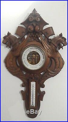 Baromètre thermomètre ancien en bois sculpté époque 1900