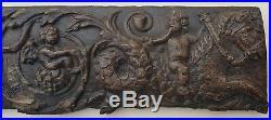 Bas relief ancien, bois sculpté frise style Renaissance