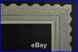 Beau cadre ancien Tableau bois sculpté Croisillons Orientaliste signé Bouche 10f
