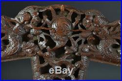 Beau cadre ancien porte Photo bois sculpté Dragon Tortue Indochine Bois de fer