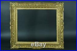 Beau cadre tableau ancien Montparnasse Fleur de lys bois doré Cornice Frame 8 f