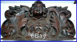 Beau et Ancien BAS-RELIEF en Bois sculpté visage angelot