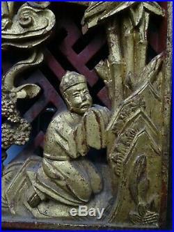 Bel Élément De Meuble Scène Asiatique Sculptée De Sages Très Beau Travail Ancien